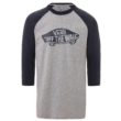 VANS OTW Raglan  #  Athletic heather / Dress blues Custom fit fazonú 3/4-es ujjú 100 % pamut póló nyomott mintával
