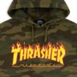 THRASHER Flame Camo PO - Forest camo kapucnis pulóver