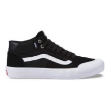 93b029d9c518 Vans Style 112 Mid Pro fekete hasított bőr gördeszkás cipő fehér vans  csíkkal az oldalán