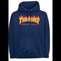sötétkék thrasher kapucnis pulóver,  sárga thrasher flame felírattal