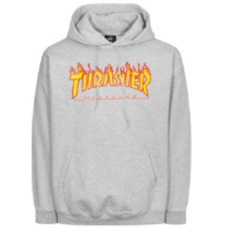 70db10768c világos melír szürke Thrasher kapucnis belebújós pulóver, flame thrasher  felírattal
