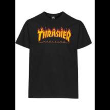 fekete thrasher póló, sárga lángos thrasher felírattal