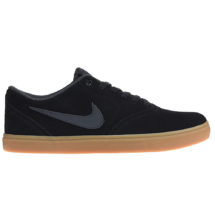 0763e1ebe3 NIKE SB Check Solarsoft fekete hasított bőr gördeszkás cipő, barna gumi  talppal és szürke nike