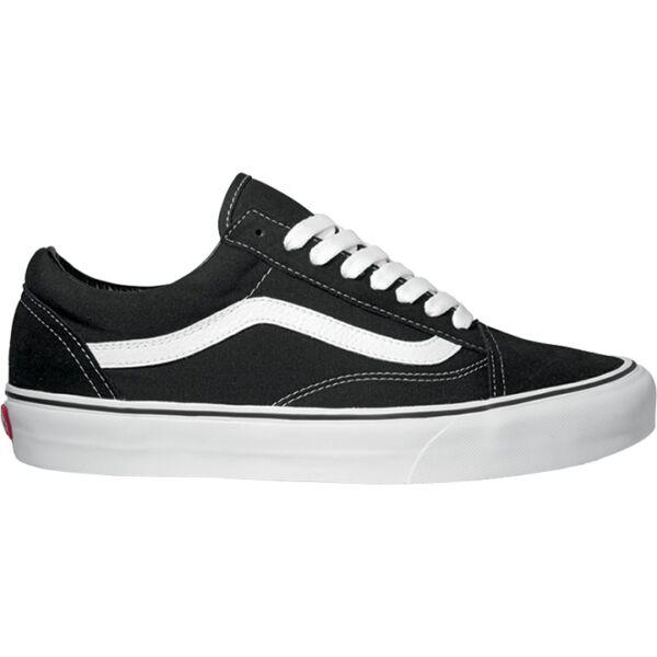 vans old skool fekete hasítottbőr cipő fehér csíkkal az oldalán