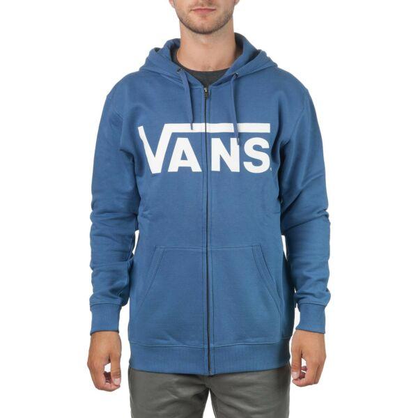 kék cipzáros kapucnis pulóver, fehér vans felírattal