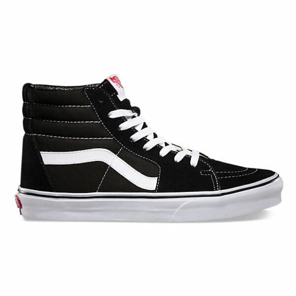 fekete magas szárú hasított bőr cipő vászon betéttel, fehér vans csík az oldalán