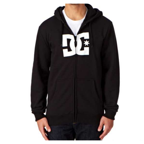 fekete cipzáros, kapucnis pulóver, fehér DC logóval