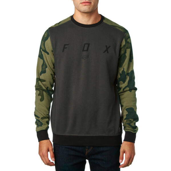 FOX District Crew  #  Black vintage környakas pulóver