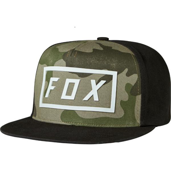 terepmintás fox snapback baseball sapka fox felirattal, hátulja és a sild fekete