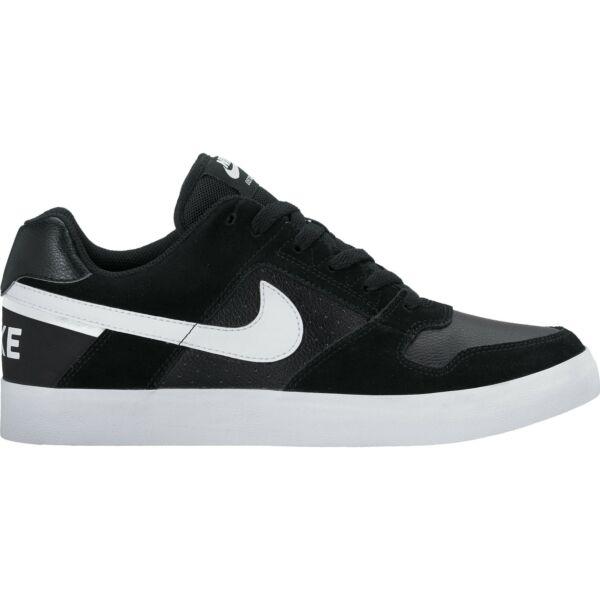 NIKE SB fekete bőr cipő fehér nike pipával az oldalán