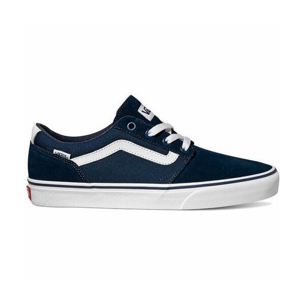 kék vans hasított bőr cipő, fehér vans csíkkal az oldalán