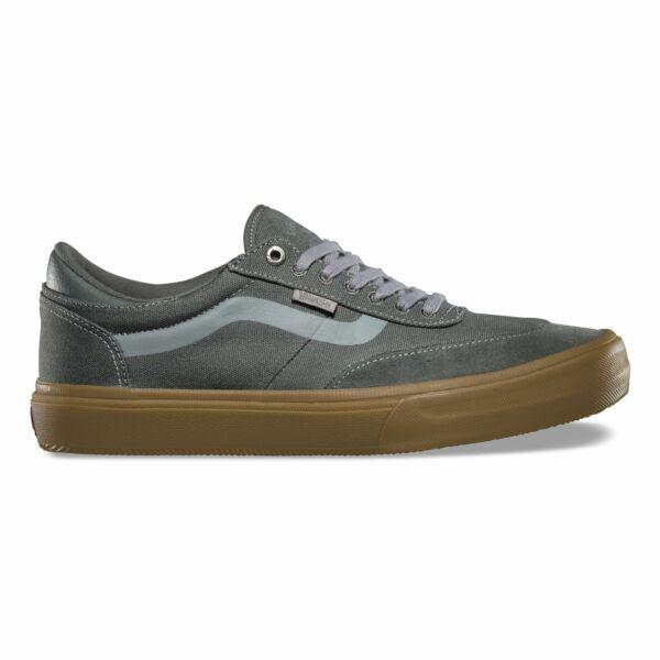szürke vans gilbert crockett pro 2 gördeszkás cipő, szürke vans csík az oldalán és barna gumitalp