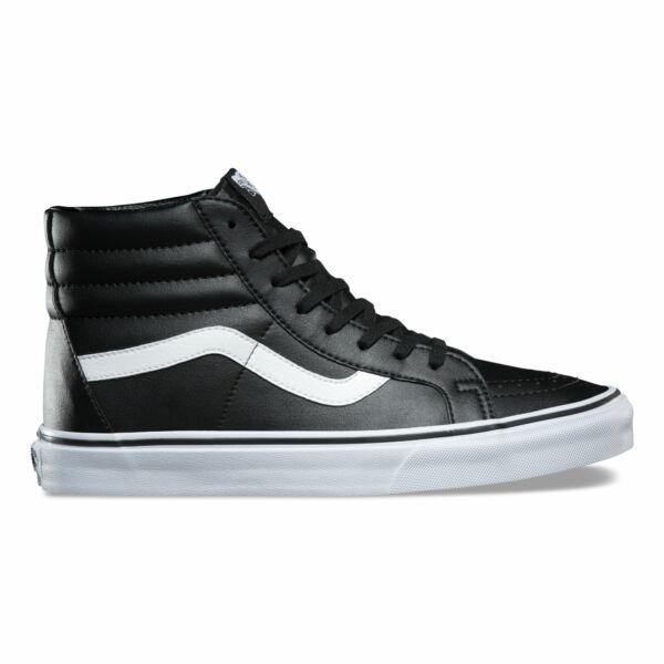 Vans fekete bőr magasszárú cipő fehér vans csíkkal az oldalán