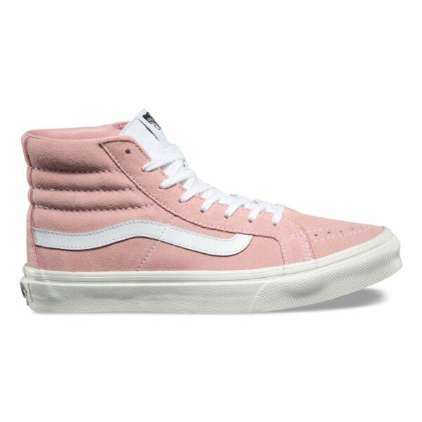 Vans rózsaszín hasított bőr magasszárú cipő fehér vans csikkal az oldalán