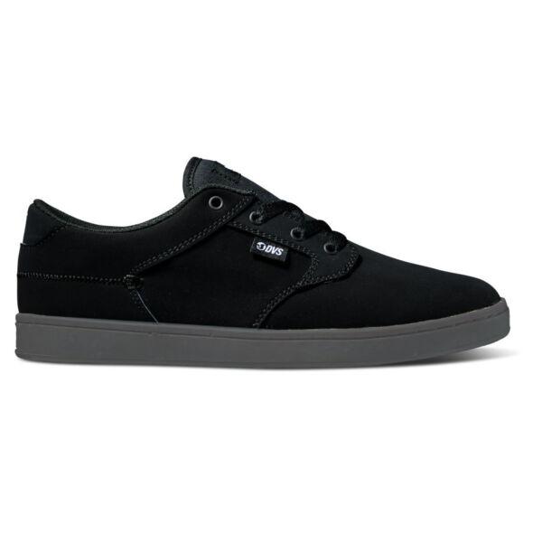 fekete nubuck DVS gördeszkás cipő, szürke gumi talppal