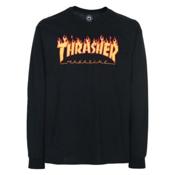 thrasher flame fekete vékony hosszú ujjú póló