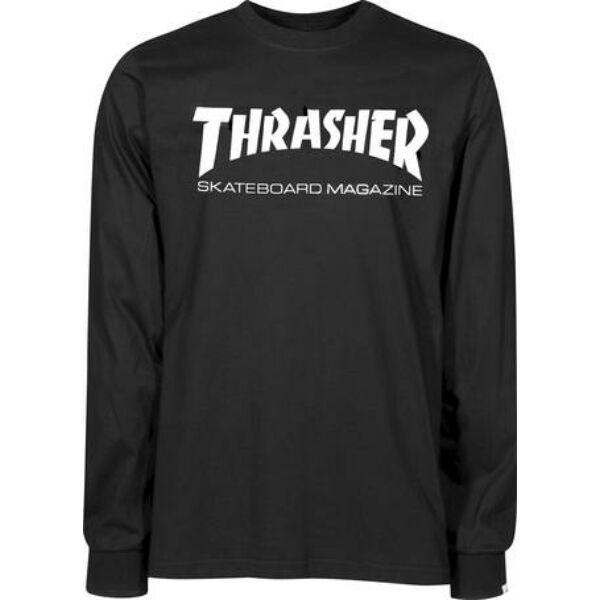 Thrasher fekete vékony hosszú ujjú póló fehér thrasher felirattal