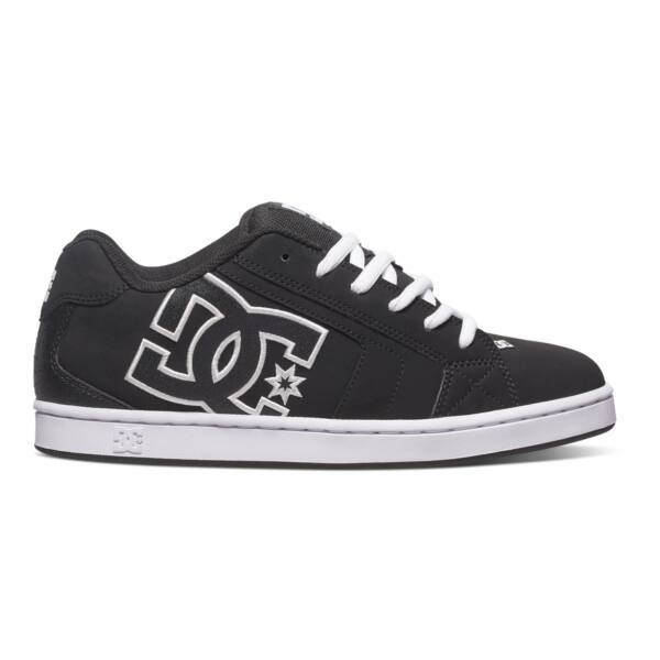 fekete bőr gördeszkás cipő,hímzett nagy fehér DC logó az oldalán