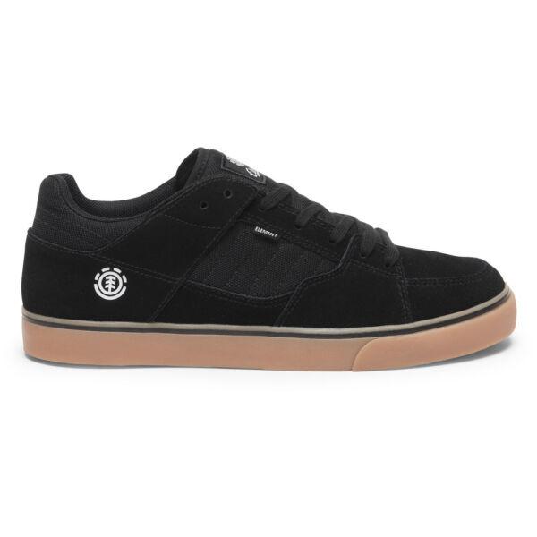 fekete hasított bőr gördeszkás element cipő barna gumi talppal