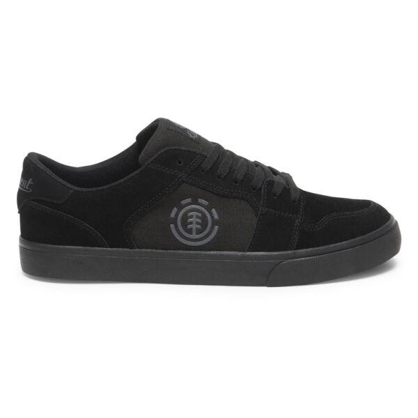 fekete hasított bőr element gördeszkás cipő fekete gumi talppal