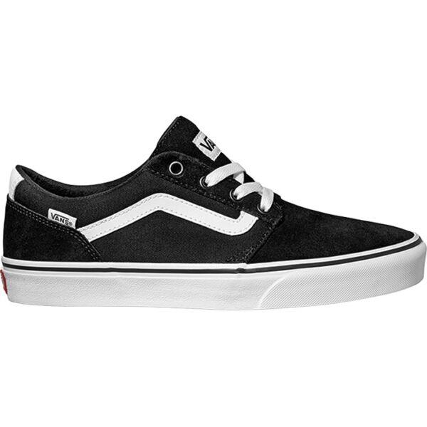 fekete hasított bőr vans cipő, oldalán fehér vans csík