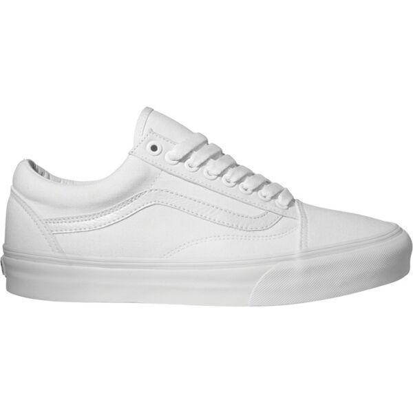 fehér vászon vans old skool cipő, oldalán fehér vans csíkkal