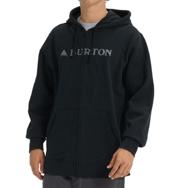 BURTON Horizontal Montain FZ fekete cipzáros kapucnis pulóver fehér burton felirattal