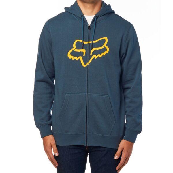 FOX Legacy Foxhead kék cipzáros pulóver nagy sárga fox logóval
