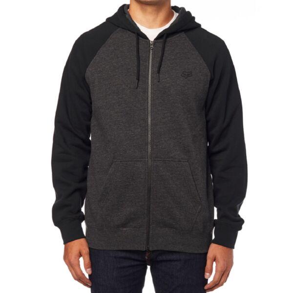 sötét szürke fox pulóver fekete újjal kis fox logóval