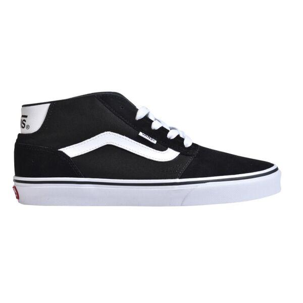 Vans fekete fél magasszárú cipő csúszásmente talppal és fehér vans csíkkal az oldalán