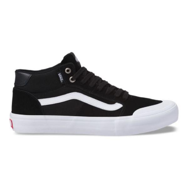 Vans Style 112 Mid Pro fekete hasított bőr gördeszkás cipő fehér vans csíkkal az oldalán