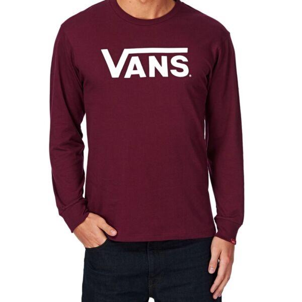 VANS Classic Ls  bordó vékony hosszú ujjú póló fehér vans felirattal