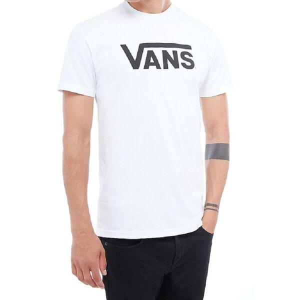 fehér rövid ujjú póló, fekete Vans felirattal
