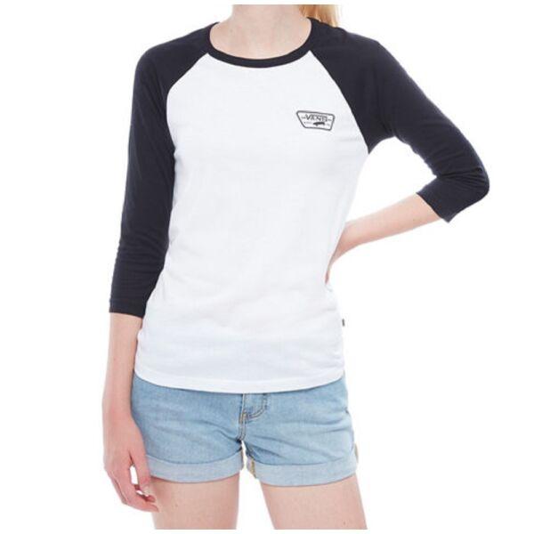 VANS Full Patch Raglan Vans női fehér 3/4-es fekete ujjú póló,