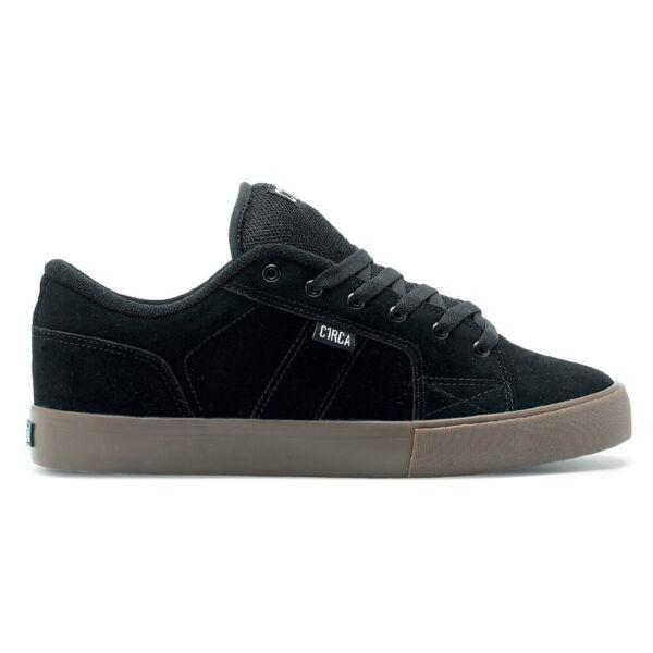 CIRCA Cero fekete hasított bőr gördeszkás cipő barna gumi talppal
