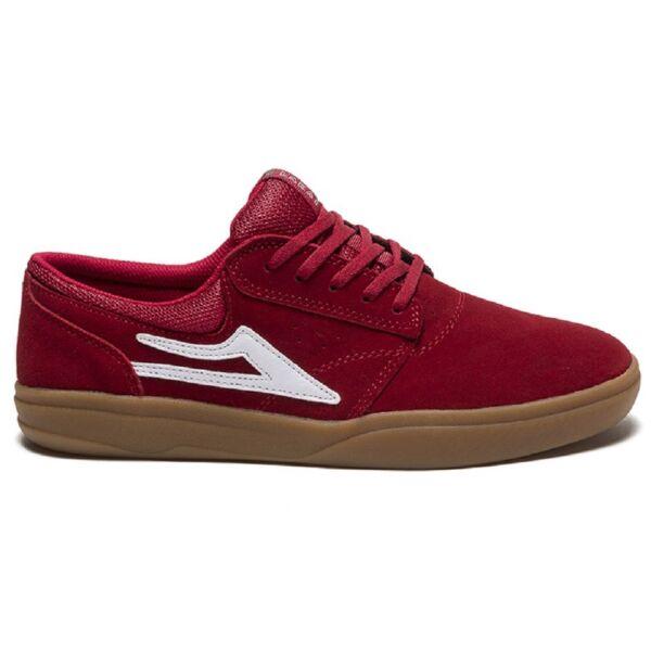 LAKAI Griffin XLK piros hasított bőr cipő, barna gumitalppal és fehér lakai logóval az oldalán