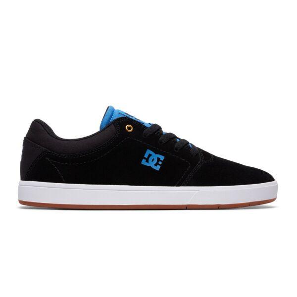 fekete DC hasított bőr cipő kék kis dc logóval az oldalán