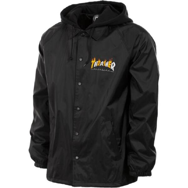 THRASHER Flame Mag Coath Jacket-fekete széldzseki