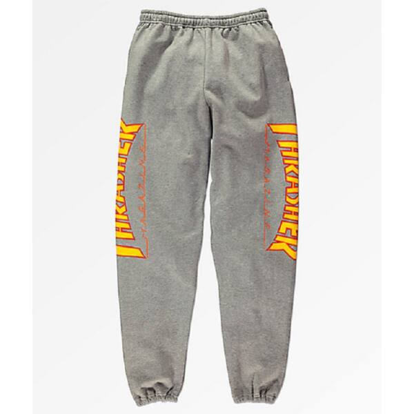 THRASHER Flame Sweatpants szürke pamut melegítő nadrág