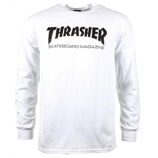 fehér Thrasher vékony hosszú ujjú póló fekete thrasher felírattal