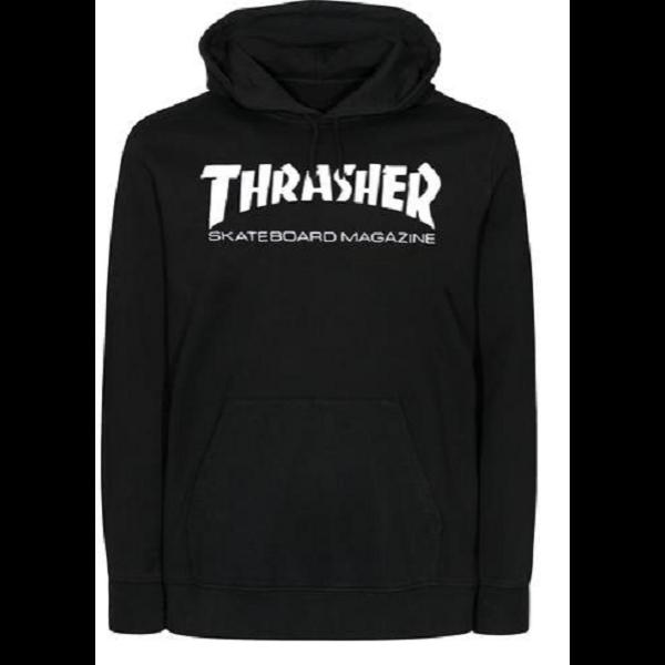 fekete kapucnis thrasher pulóver, fehér thrasher felírattal