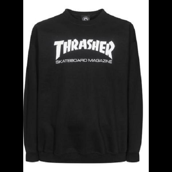 fekete Thrasher környakas pulóver fehér thrasher felirattal