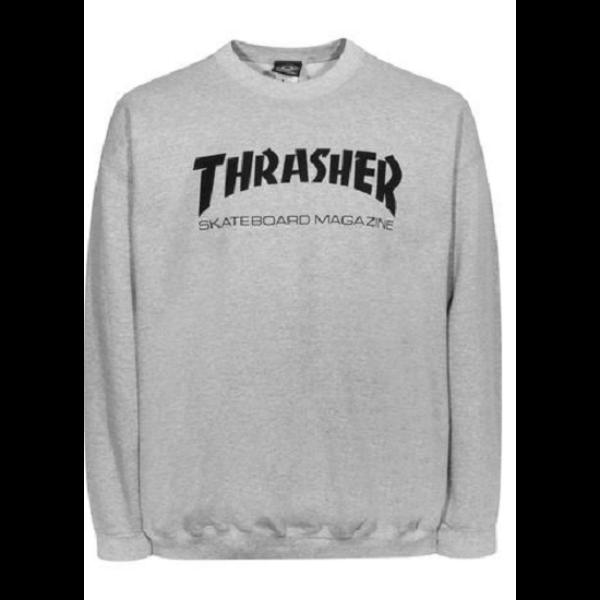 Thrasher világos szürke környakas pulóver fekete thrasher felirattal