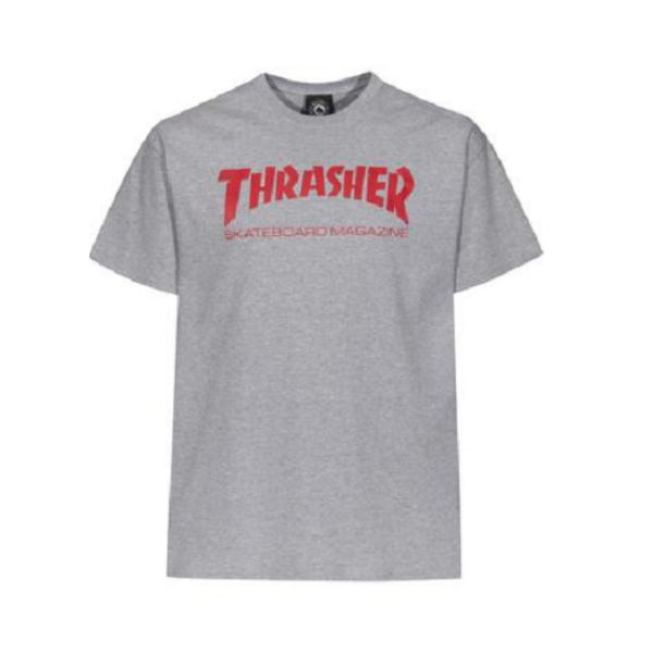 világos melír szürke Thrasher skate mag póló, piros thrasher felírattal