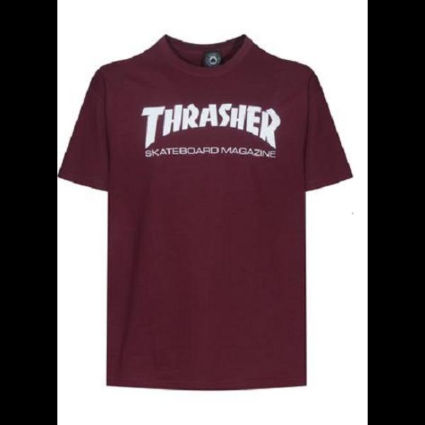 bordó thrasher póló fehér trasher  felírattal