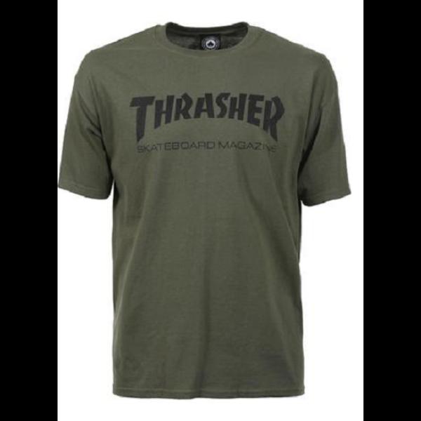 olajzöld Thrasher skate mag póló, fekete thrasher felírattal