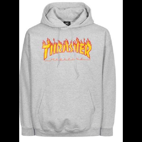 világos melír szürke Thrasher kapucnis belebújós pulóver, flame thrasher felírattal