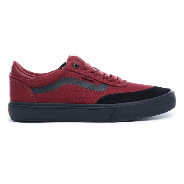 VANS Gilbert Crockett Pro 2 bordó gördeszkás cipő fekete gumi talppal és fekete vans csíkkal az oldalán