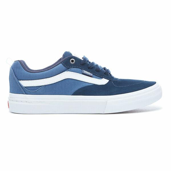 kék hasított bőr vans gördeszkás cipő fekete gumi talppal és fehér vans csíkkal az oldalán