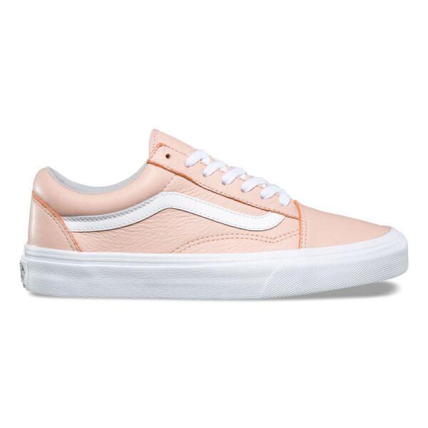 VANS Old Skool (Leather) rózsaszín bőr cipő fehér vans csíkkal az oldalán cb3d5221c4